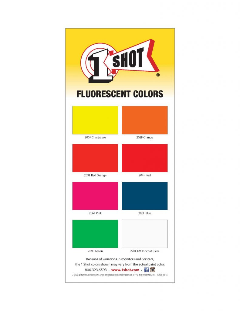 1 Shot Florescent Lettering Pinstriping Color Card