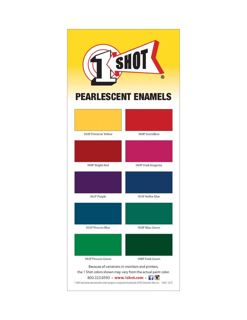 1 shot pearlescent colors striping card